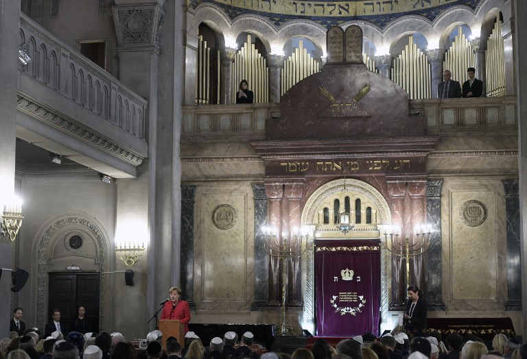 German Chancellor Angela Merkel speaks during a visit to the Templo Libertad synagogue in Buenos Aires, on June 8, 2017. (AFP PHOTO / JUAN MABROMATA)