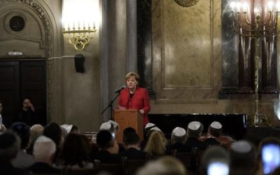 German Chancellor Angela Merkel speaks during a visit to the Templo Libertad synagogue in Buenos Aires, on June 8, 2017. (Juan Mabromata/AFP)