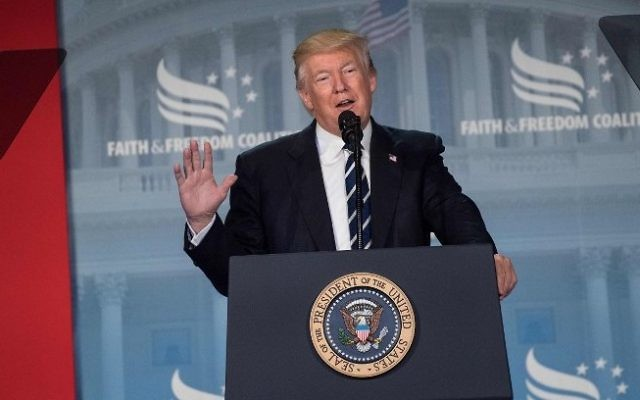 US President Donald Trump addresses supporters at a Faith and Freedom Coalition event in Washington DC on June 8, 2017. (AFP/Nicholas Kamm)