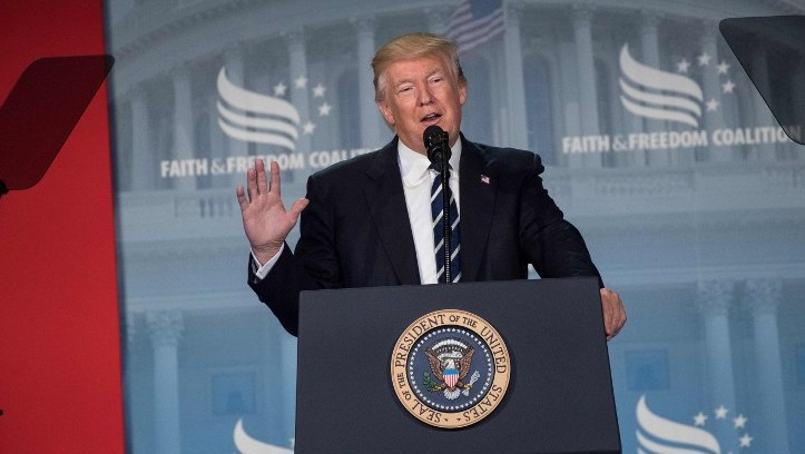 US President Donald Trump addresses supporters at a Faith and Freedom Coalition event in Washington DC