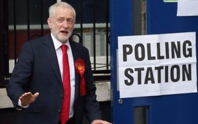 Britain's main opposition Labour Party leader Jeremy Corbyn leaves a polling station after casting his vote in north London on June 8, 2017, as Britain holds a general election. (Daniel Leal-Olivas/AFP)