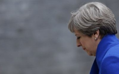 Britain's Prime Minister and leader of the Conservative Party Theresa May returns to 10 Downing Street in central London on June 9, 2017 after making a statement following the as results of a snap general election. (AFP/Adrian Dennis)