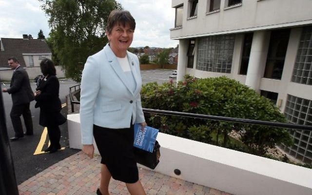 Democratic Unionist Party (DUP) leader, and former Northern Ireland First Minister, Arlene Foster, reacts as she arrives at the Stormont Hotel in Belfast, Northern Ireland, on June 9, 2017, following the result of the general election. (AFP / Paul FAITH)