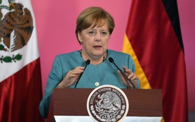 German Chancellor Angela Merkel delivers a speech at the Palacio Nacional in Mexico City on June 9, 2017. (AFP/Alfredo Estrella)