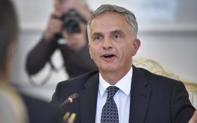 This photo taken on April 11, 2016 shows Switzerland's Foreign Minister Didier Burkhalter. (ALEXANDER NEMENOV / AFP)