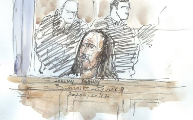 A courtroom sketch depicting Jeremy Bailly looking on during his trial before a Special Court of Assizes at the Paris courthouse on  April 20, 2017. (AFP/Benoit PEYRUCQ)