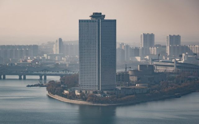 A photo taken on November 27, 2016, shows the Yanggakdo International Hotel in Pyongyang, where US student Otto Warmbier was alleged to have removed a political poster from staff quarters. (AFP PHOTO / Ed JONES)