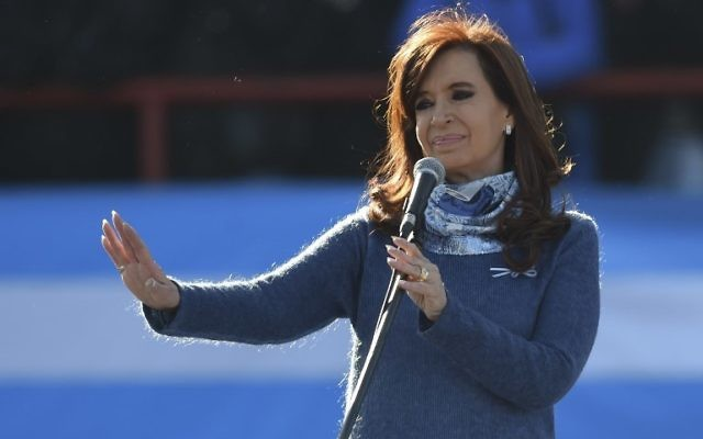 Former Argentine president Cristina Fernandez de Kirchner delivers a speech in Buenos Aires on June 20, 2017. (AFP PHOTO / EITAN ABRAMOVICH)