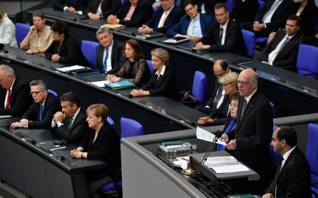 Norbert Lammert, president of the German lower house,  gives a speech on June 22, 2017 at the Bundestag in Berlin. (AFP/ John MacDougall)