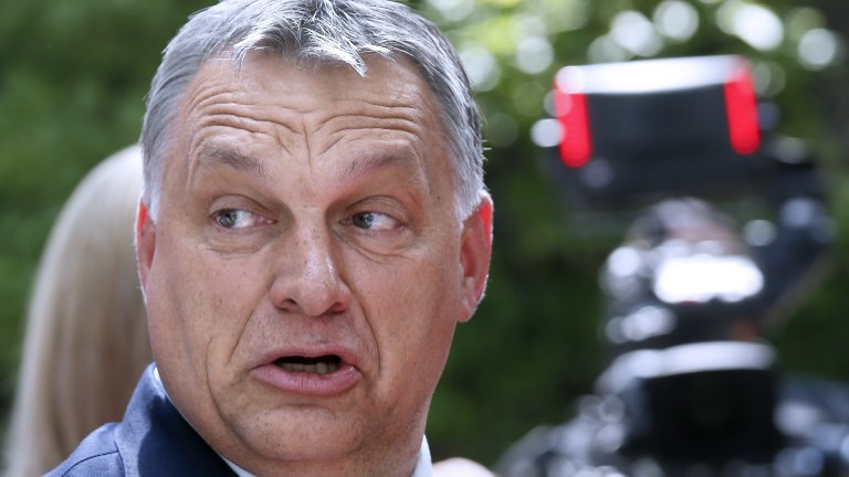 Hungarian Prime Minister Viktor Orban arrives for an European Union leaders summit, on June 22, 2017, at the European Council in Brussels. (JULIEN WARNAND / POOL / AFP)