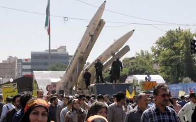 Zolfaghar missiles, right, are displayed during a rally marking al-Quds (Jerusalem) Day in Tehran on June 23, 2017. (AFP/Stringer)