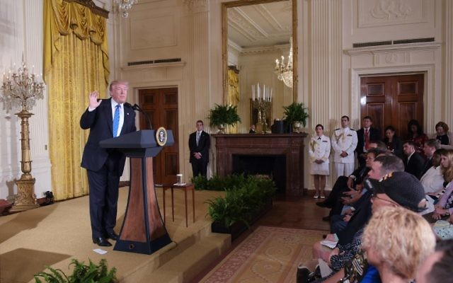 US President Donald Trump speaks during a signing ceremony for the Department of Veterans Affairs Accountability and Whistleblower Protection Act of 2017, on June 23, 2017, in the East Room of the White House in Washington, DC (AFP PHOTO / MANDEL NGAN)