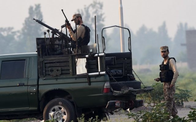 Illustrative: Pakistani army soldiers during a search operation against militants, on the outskirts of Peshawar on June 24, 2017. (AFP/Abdul Majeed)