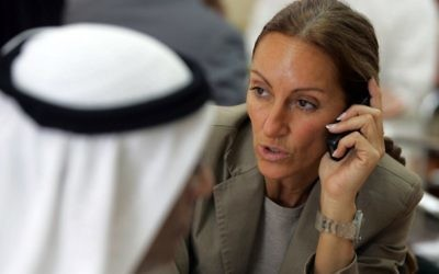 This file photo taken on November 13, 2007 shows French journalist Veronique Robert in Dubai. Robert, wounded in the same mine blast that killed two colleagues in the Iraqi city of Mosul earlier this week, has died, employers France Televisions announced on June 24, 2017  (AFP PHOTO / Karim SAHIB)