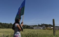 "A Roma girl holds a flag as she stands in front of the fence of the industrial pig farm situated at the site of a former concentration camp in Lety, Czech Republic, on June 24, 2017, during the ""Dignity for Lety"" commemorational event organized by the European Grassroots Antiracist Movement (EGAM).  (Michal Cizek/AFP)"