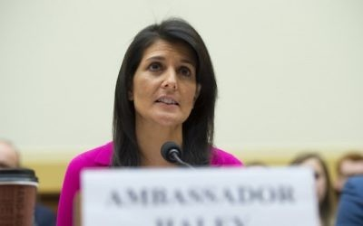 US Ambassador to the UN Nikki Haley testifies during a US House Foreign Affairs Committee hearing on Capitol Hill in Washington, DC, June 28, 2017 (AFP PHOTO / SAUL LOEB)