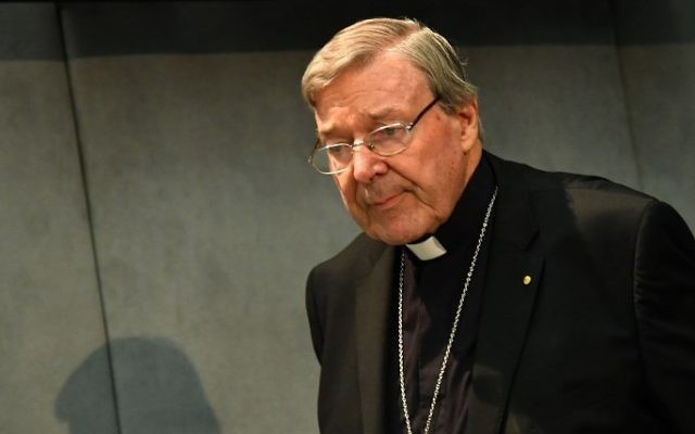 Australian Cardinal George Pell looks on as he makes a statement at the Holy See Press Office, Vatican city on June 29, 2017 after being charged with historical sex offences in a case that has rocked the church. (Alberto Pizzoli/AFP)