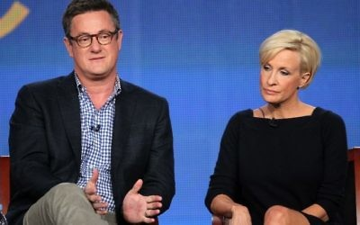 This file photo taken on January 6, 2012 shows (L-R) Host Joe Scarborough and co-host Mika Brzezinski speaking onstage during the 'Morning Joe' panel at The Langham Huntington Hotel and Spa in Pasadena, California. (Frederick M. Brown/AFP)