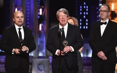 Producer Andre Bishop accepts the award for Best Play for 'Oslo' onstage during the 2017 Tony Awards at Radio City Music Hall on June 11, 2017 in New York City.  (Theo Wargo/Getty Images for Tony Awards Productions/AFP)