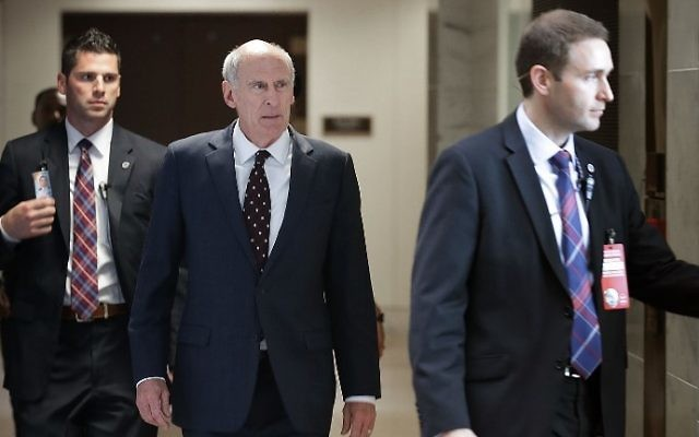 US Director of National Intelligence Dan Coats (C) leaves the Hart Senate Office Building after meeting behind closed doors with members of the Senate Intelligence Committee for four hours June 15, 2017 in Washington, DC. (Chip Somodevilla/Getty Images/AFP)