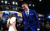 T.J. Leaf reacts after being drafted 18th overall by the Indiana Pacers during the first round of the 2017 NBA Draft at Barclays Center on June 22, 2017 in New York City. (Mike Stobe/Getty Images/AFP)