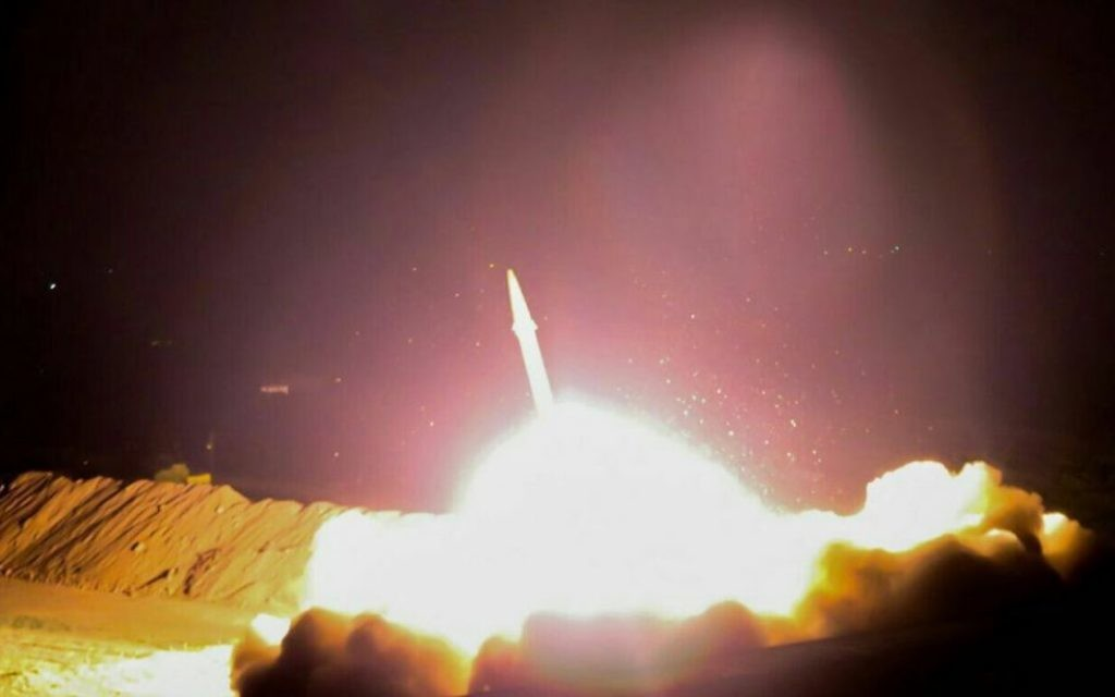 Iran launches a ballistic missile at Islamic State targets in eastern Syria on June 18, 2017. (Islamic Revolutionary Guard Corps)