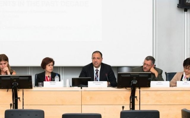 A panel in 2014 for UNESCWA with former head Rima Khalaf, second from left. (CC BY 2.0, Flickr/ITU/C. Montesano Casillas)