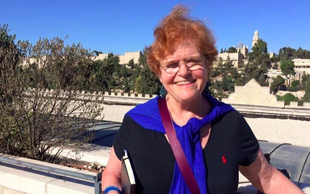 Deborah Lipstadt at Mishkenot Sha'ananim, Jerusalem, June 11, 2017. (Renee Ghert-Zand/TOI)