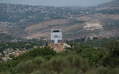 An installation of the Lebanese agricultural NGO 'Green Without Borders' that the IDF says serves as an observation outpost for Hezbollah on the Israeli-Lebanese border, publicized on June 22, 2017. (Israel Defense Forces)