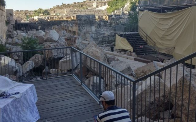 Archaeologists claim the egalitarian platform harms the visual story of the Western Wall by hiding important archaeological artifacts. (courtesy, Eilat Mazar)
