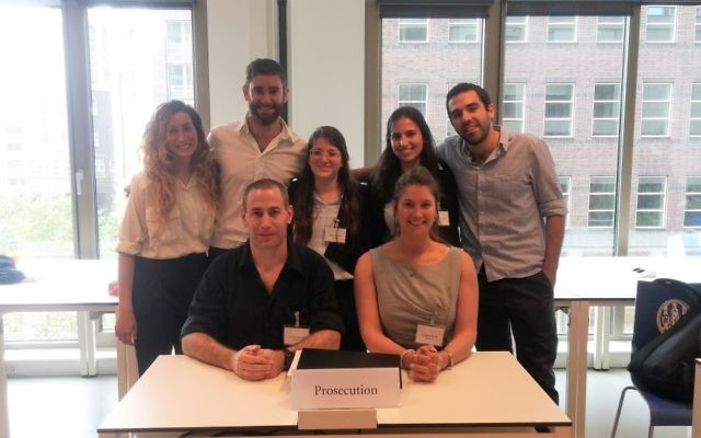 The entire Hebrew University team representing Israel at the ICC mock trial competition in The Hague, students are standing, the coaches sitting /courtesy ICC Moot Court Competition)