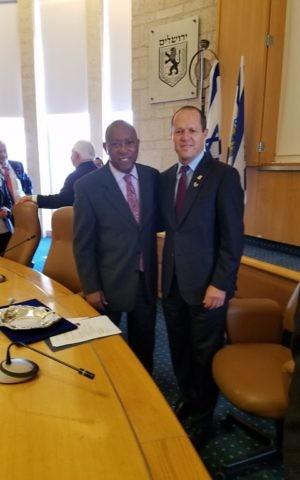 Houston Mayor Sylvester Turner with Nir Barkat, Mayor of Jerusalem in June 2017 (Courtesy)