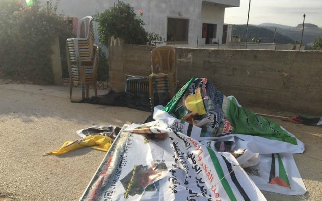 Inciting materials found at the West Bank home of a Palestinian terrorist who participated in the June 16, 2017 stabbing attack in Jerusalem's Damascus Gate that killed Border Police staff sergeant Hadas Malka, in the village of Deir Abu Mashal near Ramallah, June 21, 2017. (Courtesy IDF)