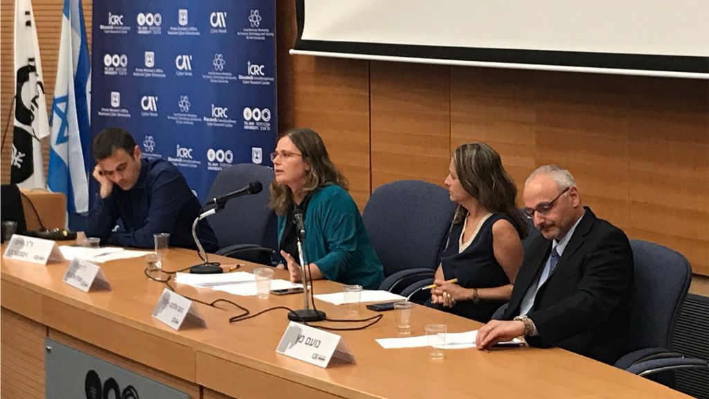 Dr. Tehila Shwartz Altshuler, the head of media reform and open government projects at the Israel Democracy Institute, and center, right, Noa Elefant-Loffler, senior public policy manager at Google Israel, speaking at Cyber Week, June 25, 2017 (Shoshanna Solomon/Times of Israel)
