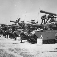 June 1967: Israeli Centurion tank corps prepare for battle during the Six-Day War.  (Three Lions/Getty Images via JTA)