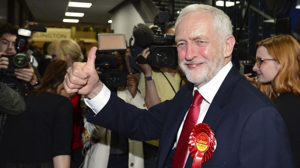 Britain's Labour party leader Jeremy Corbyn gestures as he arrives for the declaration at his constituency in London, Friday, June 9, 2017. (Dominic Lipinski/PA via AP)