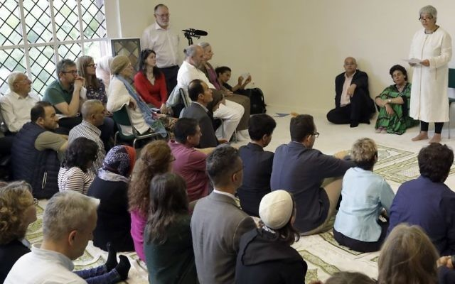 Seyran Ates (r), founder of the Ibn-Rushd-Goethe-Mosque, preaches during the opening of the mosque in Berlin, Germany, on June 16, 2017. (AP/Michael Sohn)