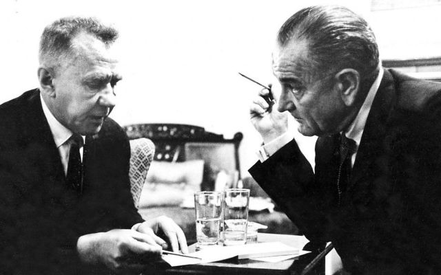 In this June 23, 1967 file photo provided by the White House, Soviet Premier Alexei Kosygin, left, and President Lyndon Johnson meet with each other during their hastily arranged U.S./USSR summit at Glassboro State College in Glassboro, N.J. Now called Rowan University, the school on Saturday June 24, 2017, is commemorating the 50th anniversary of when they hosted the Glassboro summit during the Cold War and soon after the Six-Day War between Israel and Arab states. (White House photo via AP, File)