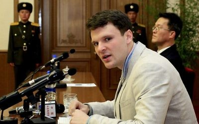 American student Otto Warmbier speaks to reporters Monday, Feb. 29, 2016, in Pyongyang, North Korea. (AP Photo/Kim Kwang Hyon)
