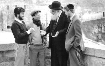 The source of Aish: Rabbi Noach Weinberg, second from right, who founded the Aish HaTorah and oversaw its global growth. The current dispute is between some of his closest devotees. (courtesy)