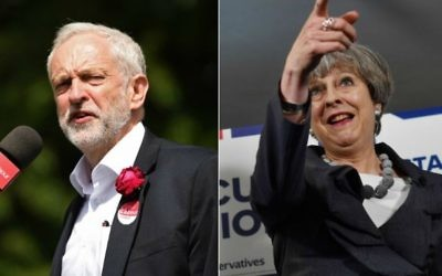 Britain's main opposition Labour Party leader Jeremy Corbyn on June 6, 2017 (L) and British Prime Minister Theresa May on June 7, 2017 (Oli SCARFF / AFP and Ben STANSALL / POOL / AFP)