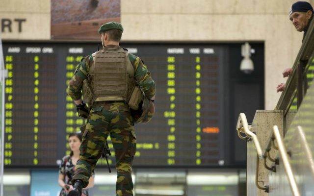 A Belgian Army soldier patrols inside Central Station in Brussels on Wednesday, June 21, 2017. (AP/Virginia Mayo)