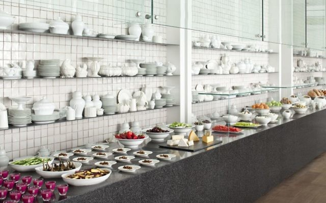 The breakfast buffet at the Mamilla Hotel. (Courtesy)