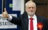 Britain's Labour party leader Jeremy Corbyn gestures as he arrives to vote in the general election at a polling station in London, June 8, 2017. (AP/Frank Augstein)