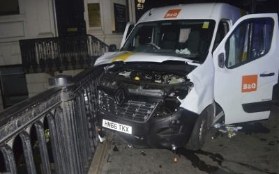 The van used in the London Bridge terror attack on Saturday, June 3, 2017. (Metropolitan Police London via AP)
