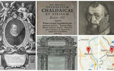 A copy of the 'Concordantiae Bibliorum Hebraicae' by Johannes Buxtorf, published in 1632 in Basel, Switzerland, had a 1686 'footprint' in Worms, Germany. Pictured is, clockwise from left, a portrait of the author Johannes Buxtorf, a detail from another one of Buxtorf's works, a portrait of Buxtorf by a different artist, maps of the footprints, and a page from the 'Bibliorum Hebraicae.' (Public domain, detail of the 'Bibliorum Hebraicae' courtesy of Footprints.)