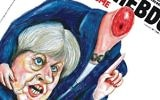 The cover of Charlie Hebdo magazine, showing British Prime Minister Theresa May holding her own severed head in her hands. (Screen capture)