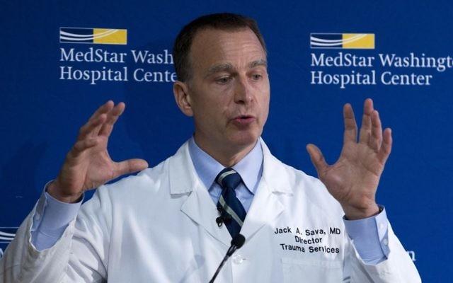 MedStar Washington Hospital Center Director of Trauma Dr. Jack Sava speaks during a news conference in Washington, Friday, June 16, 2017. (AP/Jose Luis Magana)
