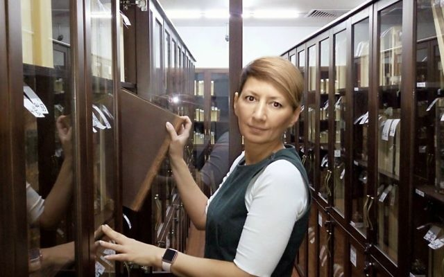 Svetlana Khvostova, the Russian State Library employee in charge of keeping the Schneerson Collection. (Courtesy)