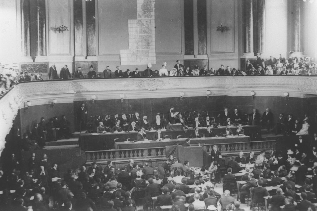 Theodor Herzl addressing the First or Second Zionist Congress in Basel, in 1897-8. (courtesy GPO)